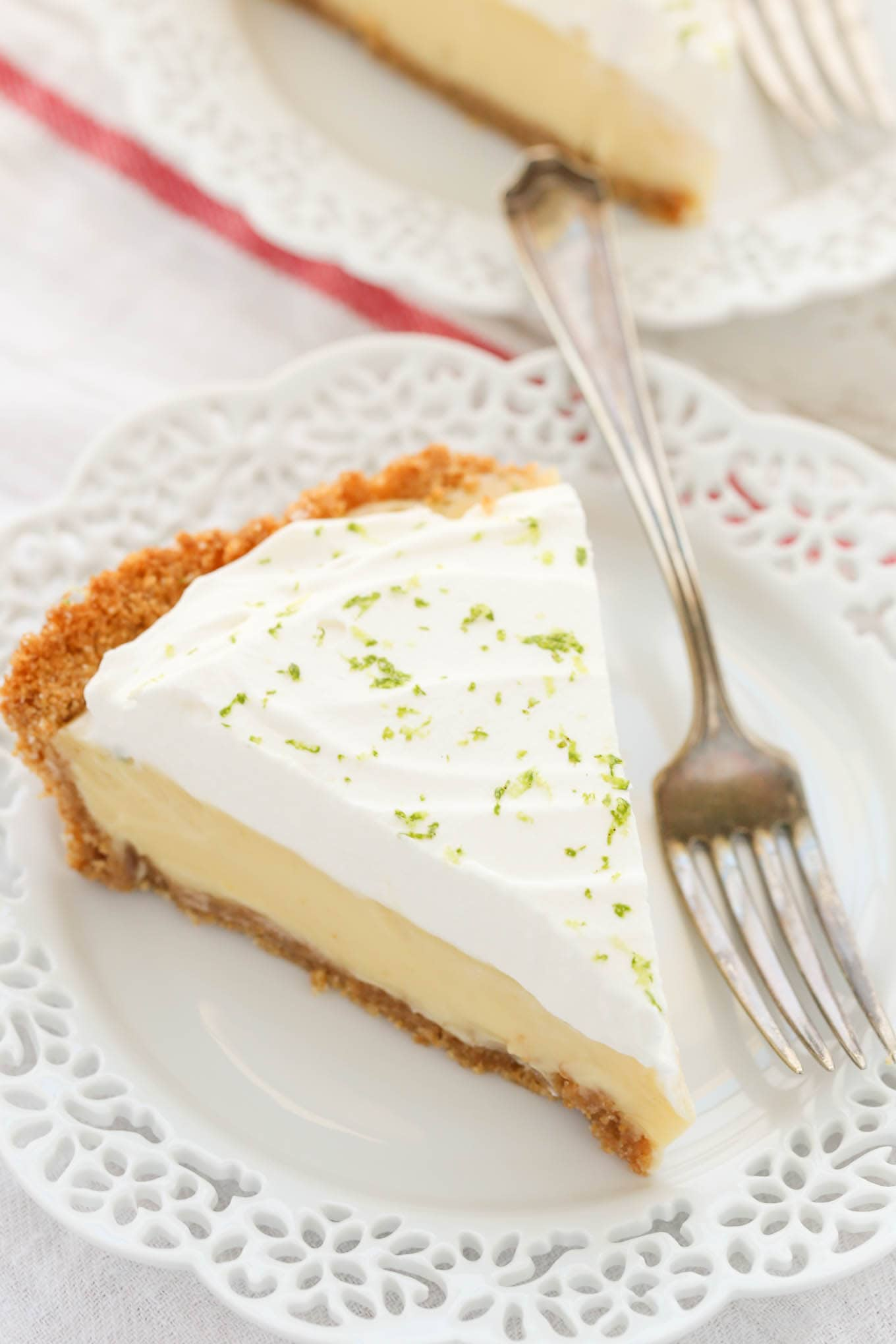 The Classic Key Lime Pie features an easy homemade graham cracker crust, a smooth and creamy key lime pie filling, and homemade whipped cream on top. The perfect dessert for key lime lovers!