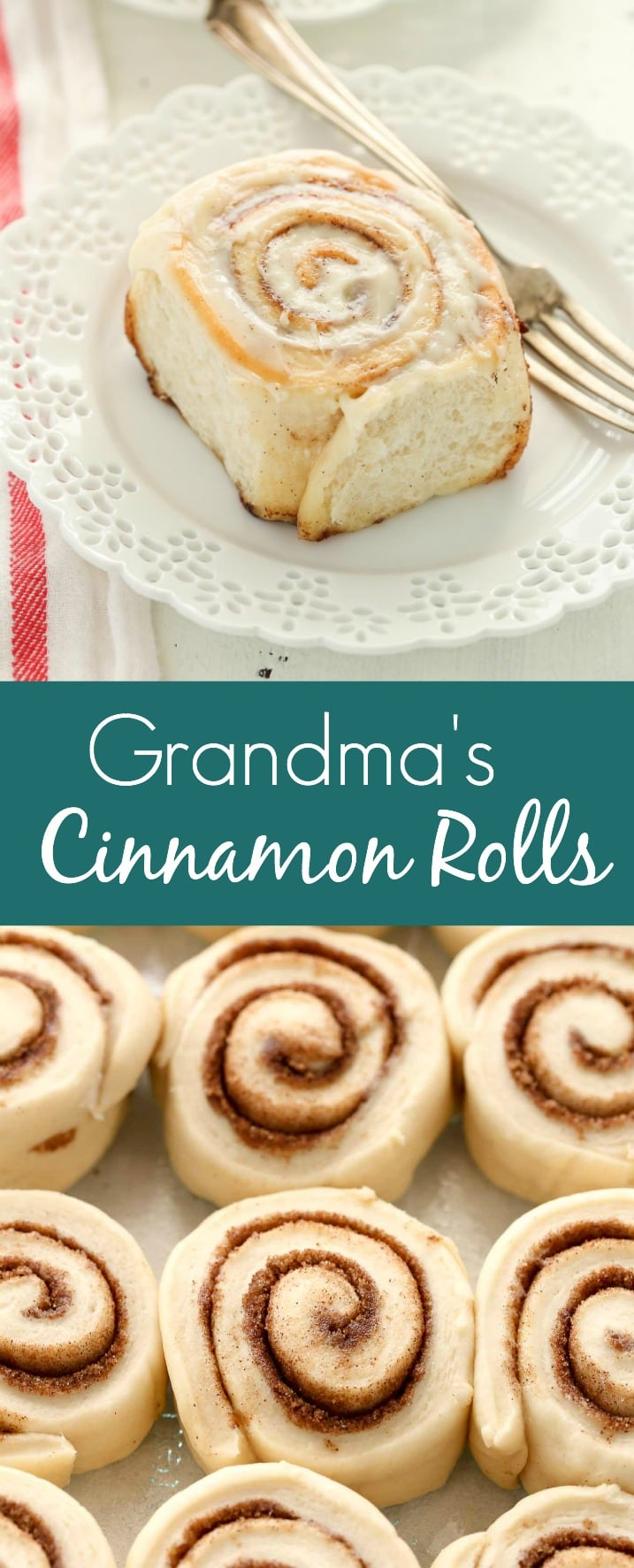 An easy recipe and tutorial on how to make my family's favorite cinnamon rolls. You can serve these cinnamon rolls with a cream cheese frosting or simple vanilla icing and even prep them ahead of time!