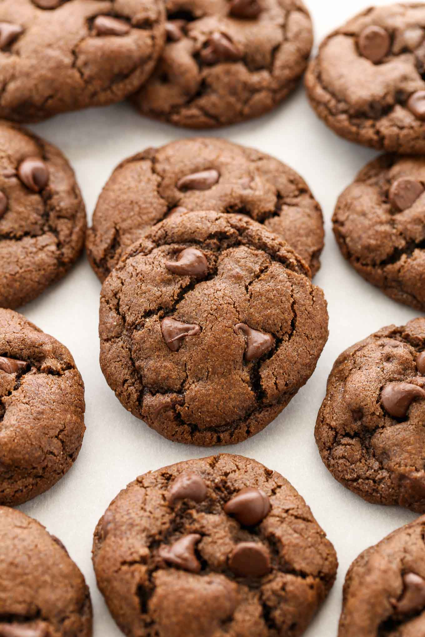 Double chocolate cookies lined up on a piece of parchment paper.