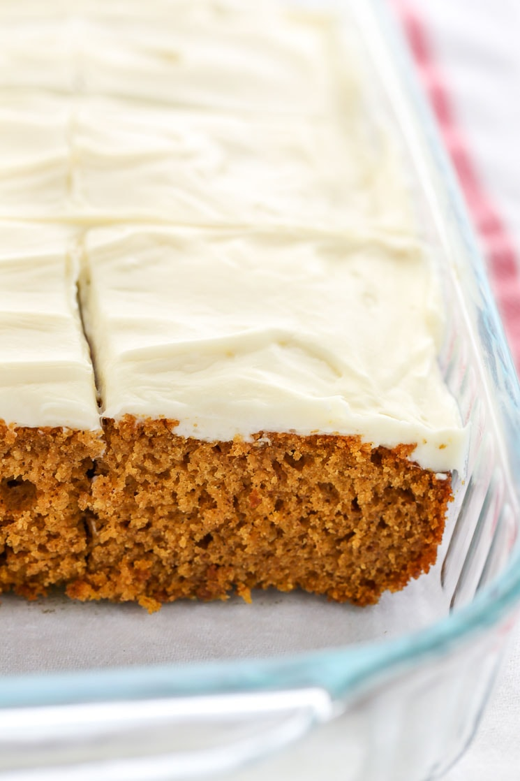 This pumpkin cake is easy to make, soft, super moist, and topped with an easy homemade cream cheese frosting. The perfect dessert for fall!