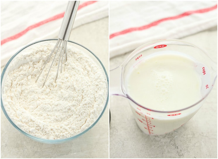 Photo collage showing the dry ingredients needed to make a white cake recipe as well as the wet ingredients in a measuring cup.