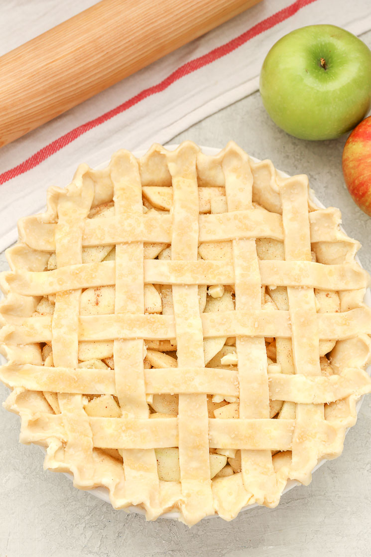 This classic homemade apple pie features a sweet apple pie filling packed inside a delicious flaky pie crust. The perfect pie for fall or Thanksgiving!