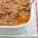 This sweet potato casserole is easy to make and topped with a crunchy pecan streusel. This simple side dish is a family favorite and perfect for Thanksgiving!