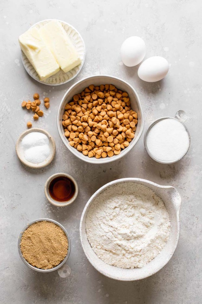 An overhead view of the ingredients needed to make butterscotch cookies.