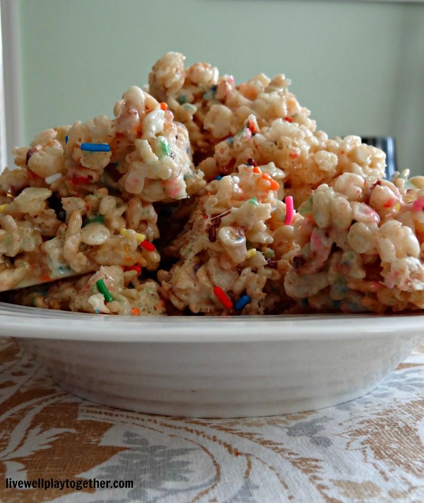 party food, confetti crispy treats, recipe