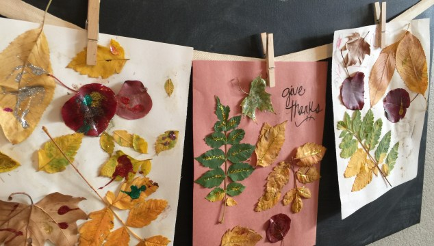 Fall Craft Idea: Glitter Glue Leaves With Two in Tow & On the Go