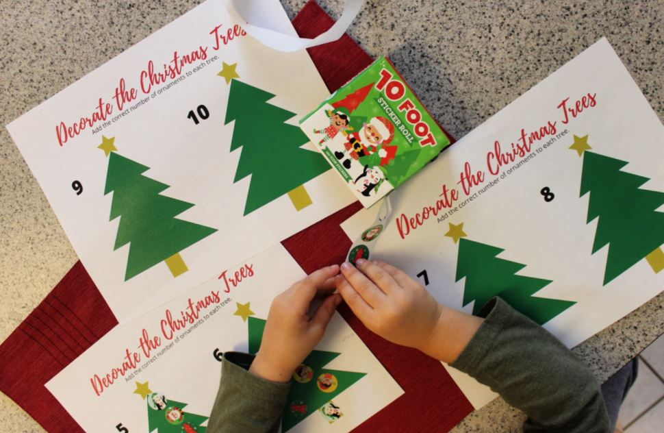 A Fun Christmas Math Activity: Sticker Christmas Trees + FREE Printable  Sheets - Live Well Play Together