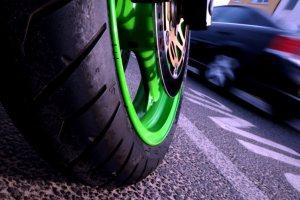Kawasaki wheel with speed blur