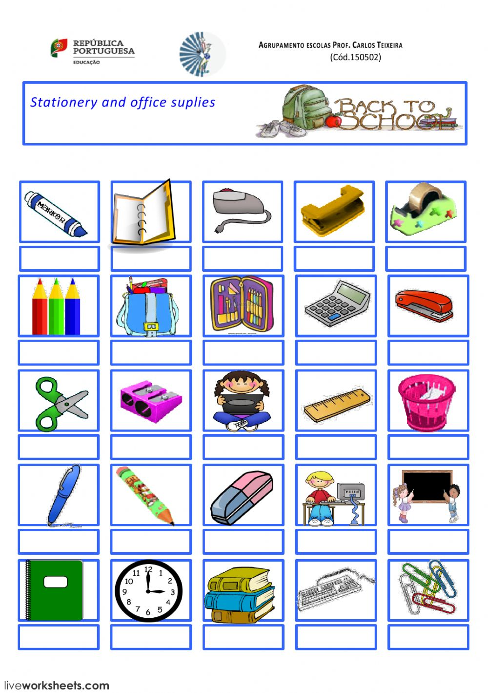 Stationery And School Suplies Interactive Worksheet