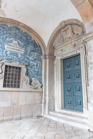 blue door in porto portugal