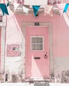 millennial pink door in porto portugal
