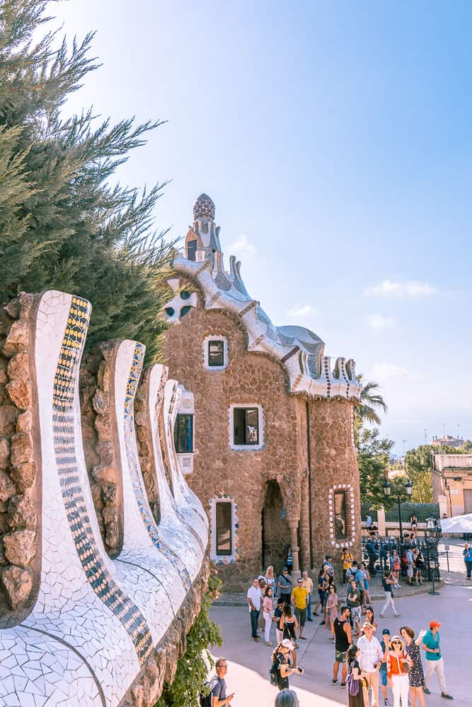 barcelona park guell city view