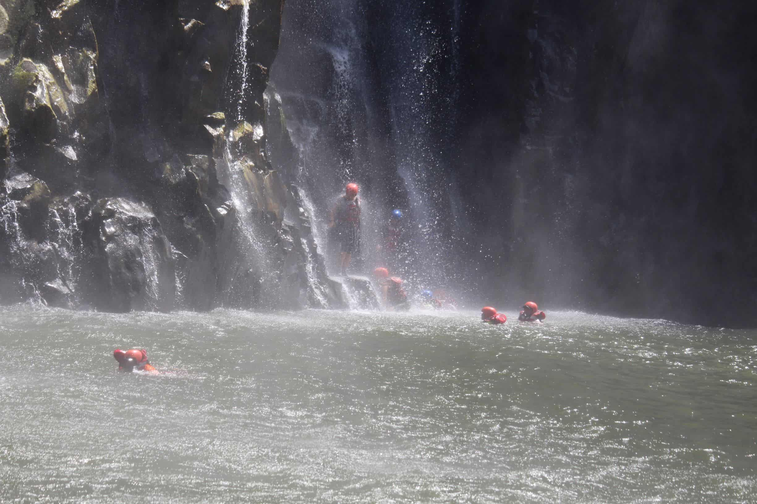 Swimming under the Falls