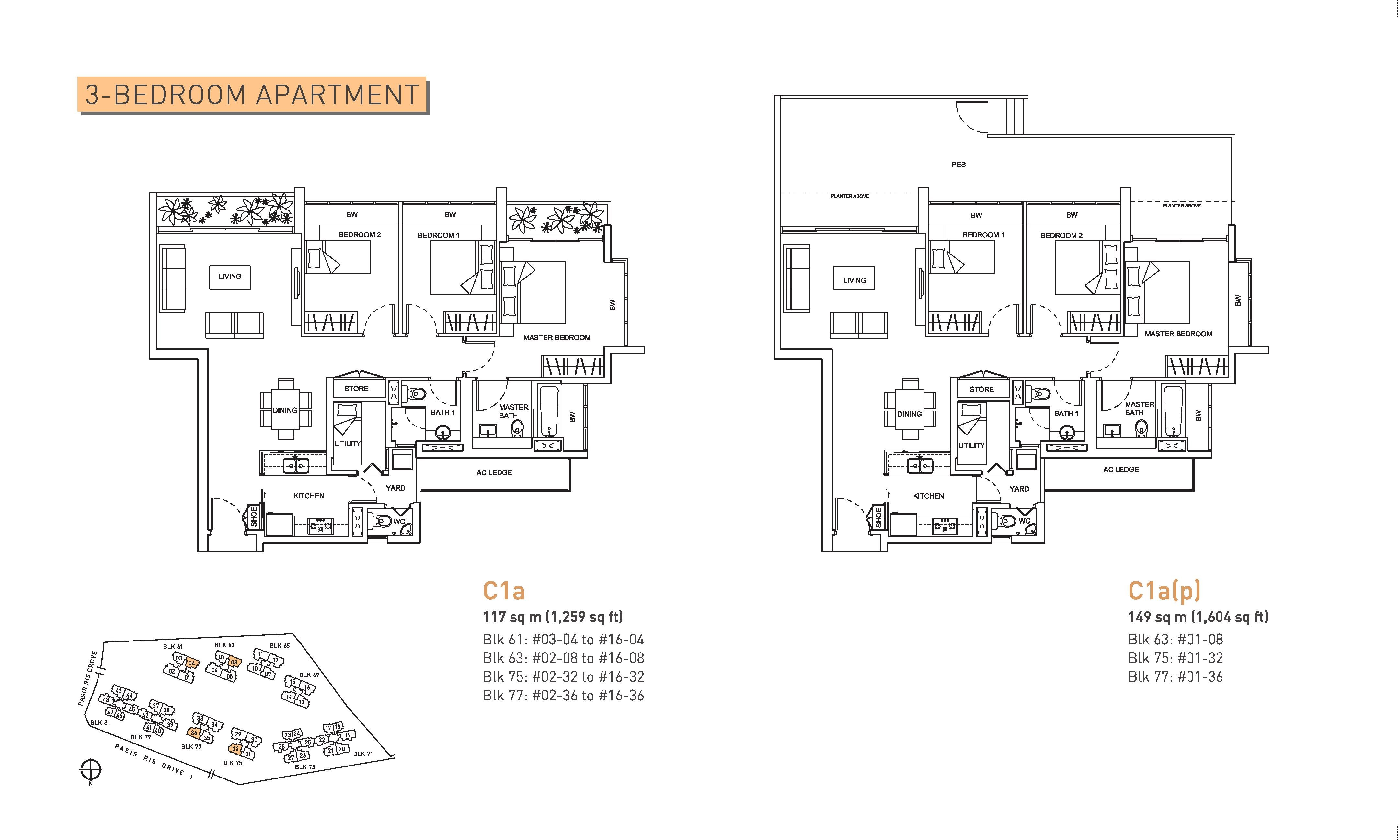 Livia 3 Bedroom Floor Plans Type C1a and C1a(p)