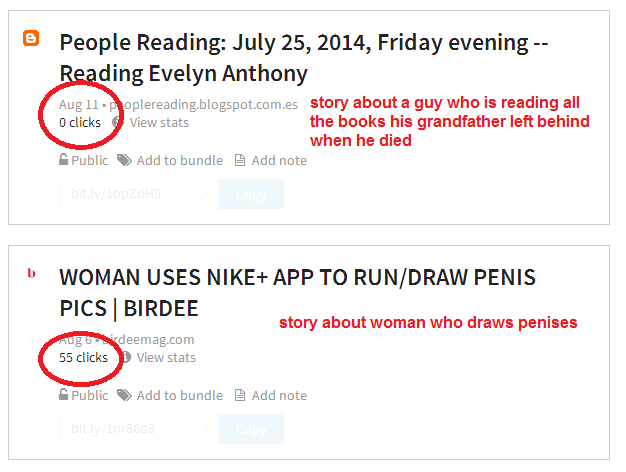 Woman who draws dicks gets more clicks than man who reads all the books left by his dead grandfather