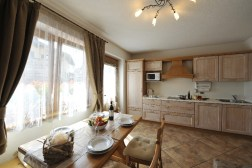 Living/dining room with a fully equipped kitchen