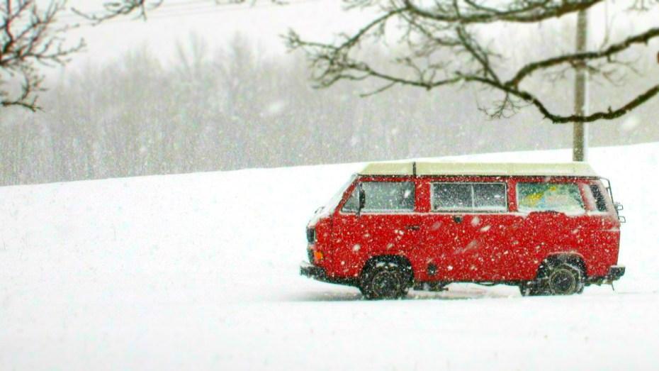 van in winter