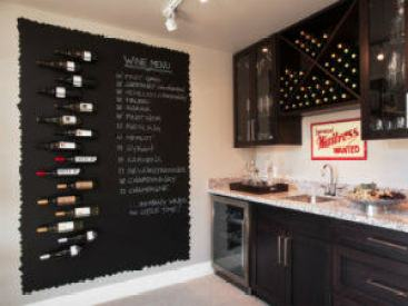 Chalk wine menu in kitchen