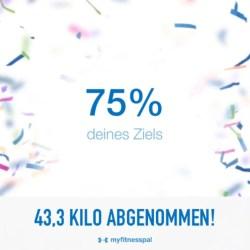 Abnehmen: 43 Kilo weniger, 75% des Zieles erreicht