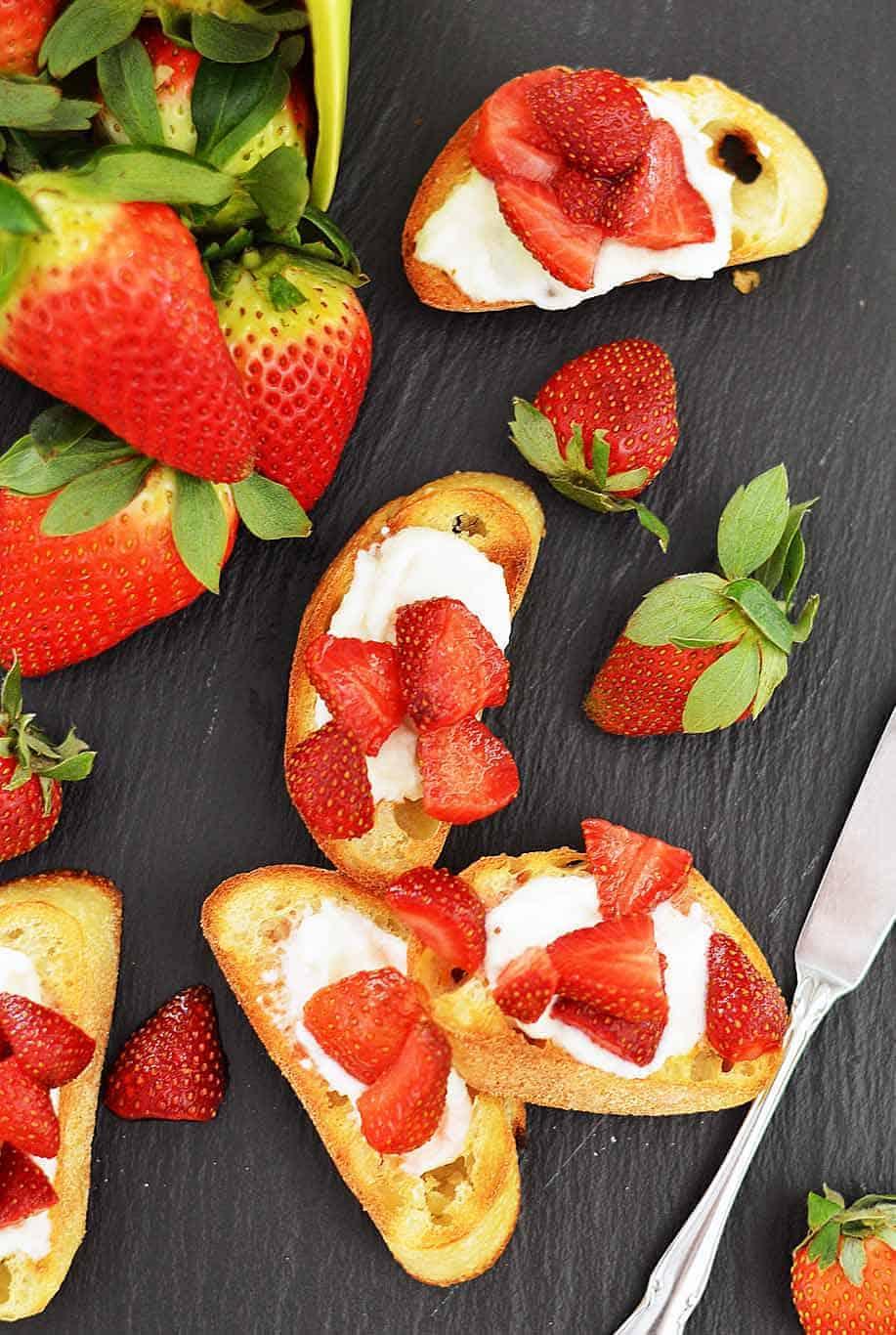 Strawberry Crostini with Whipped Vegan Ricotta