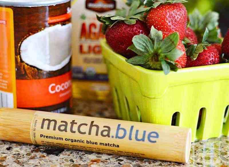 Roasted Strawberry & Blue Matcha Popsicles