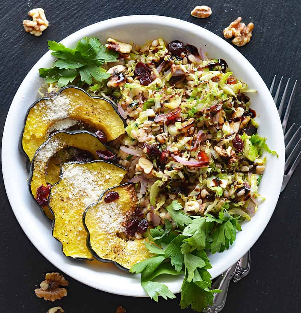 Stir Fried Farro and Brussels Sprout Bowl