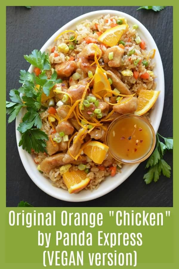 "Original Orange ""Chicken"" by Panda Express {Vegan Version} PINTEREST PIC"