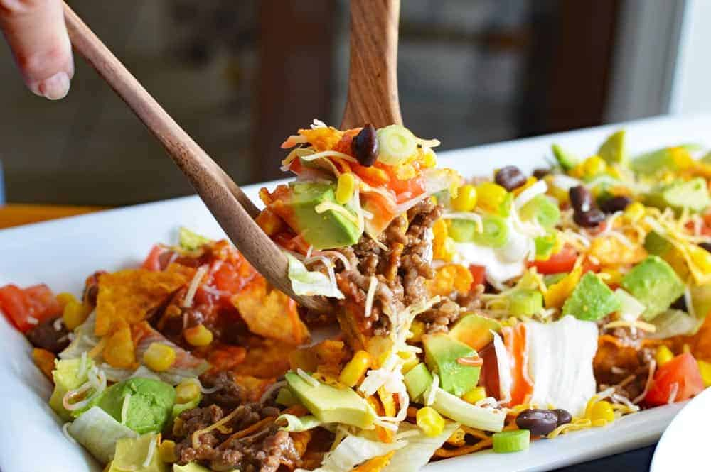 Vegan Dorito Taco Salad Recipe with Catalina Dressing