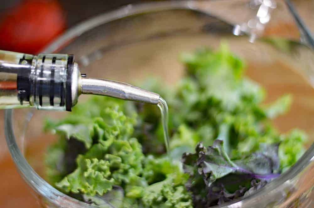Add oil to washed kale