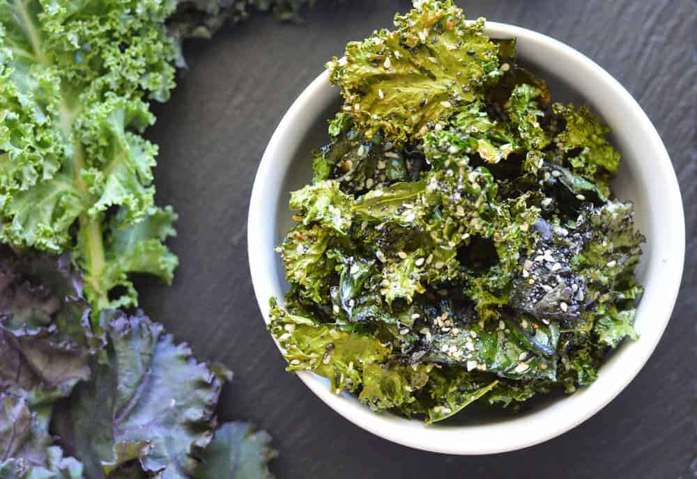 Overhead shot of Everything But The Bagel Kale Chips