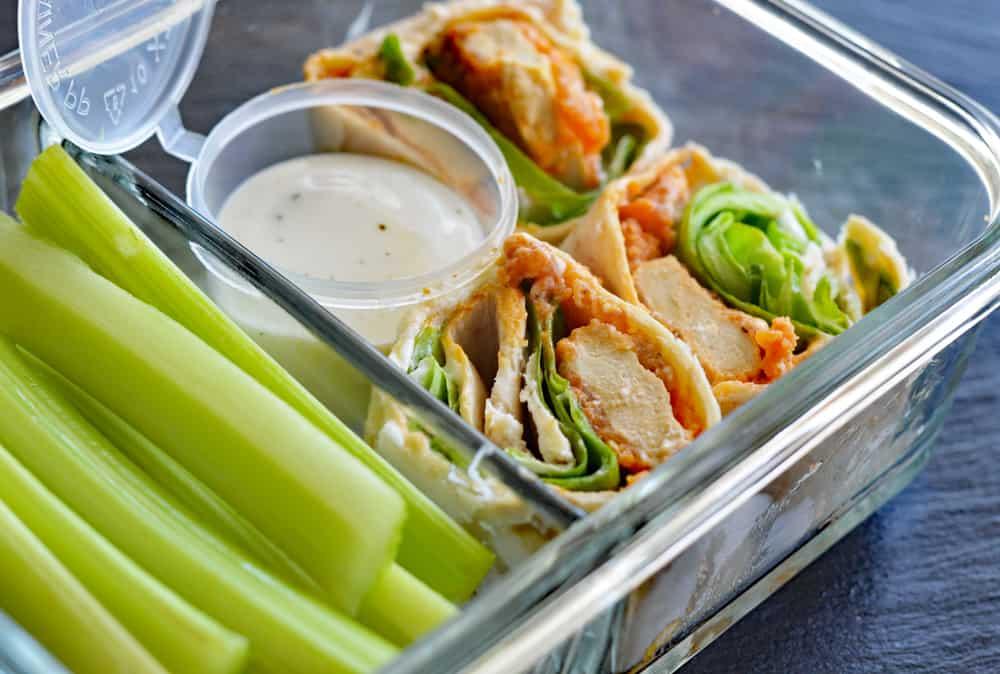 Meal Prepped Vegan Buffalo Crispy Tender Roll Ups