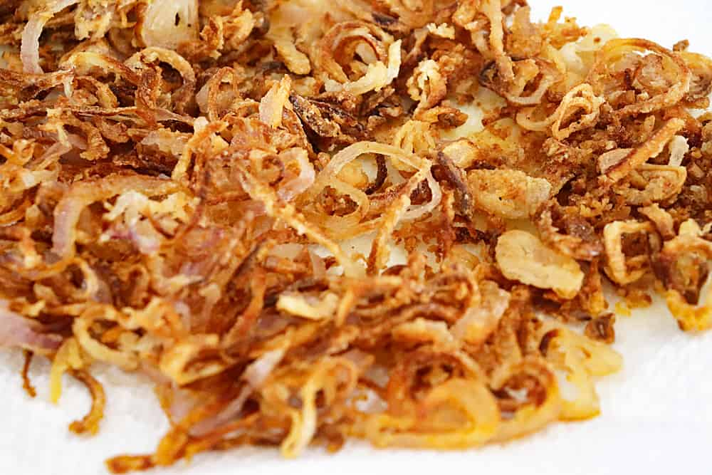 Fried onions on paper towels
