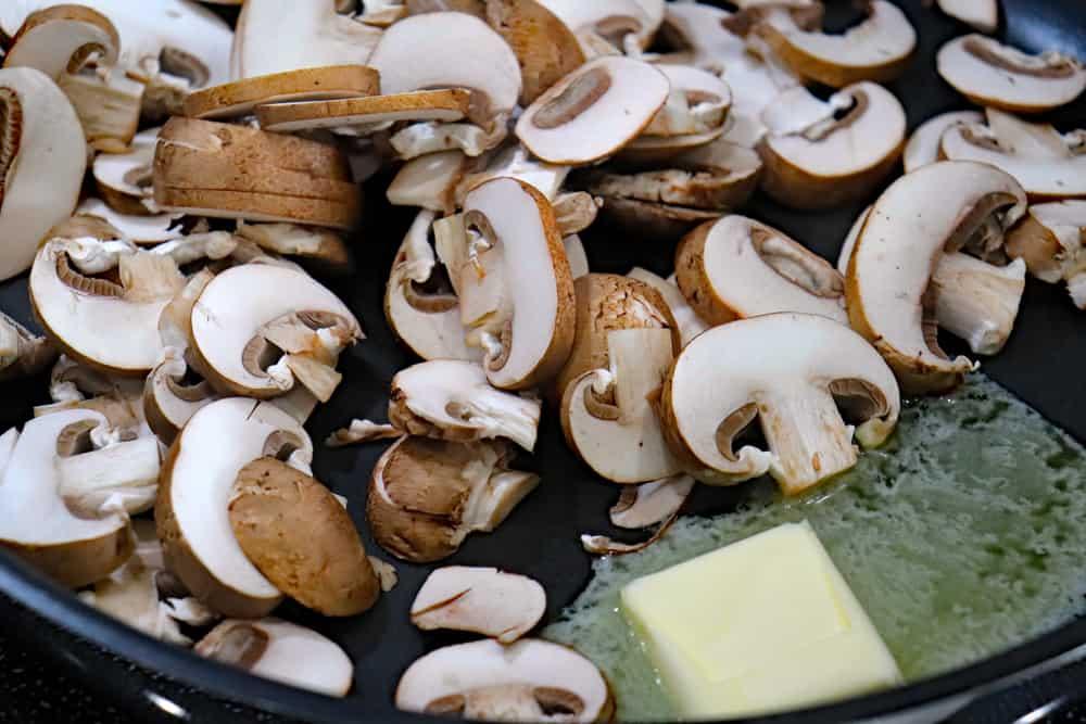 Sliced mushrooms in vegan margarine