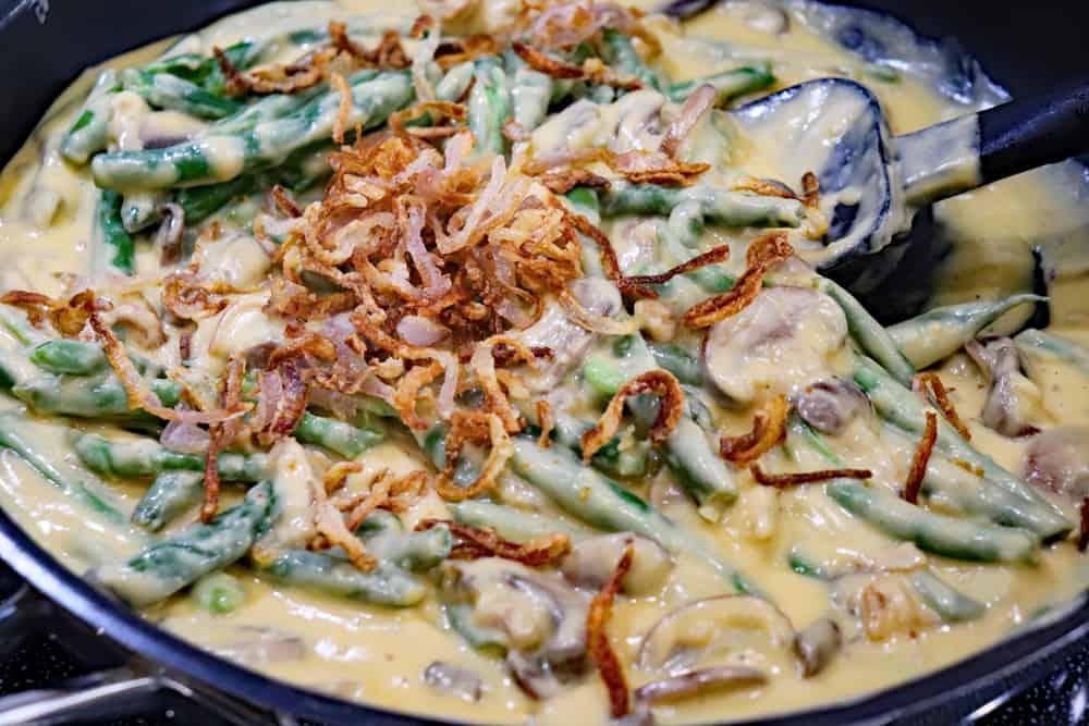 Pan full of Stovetop Green Bean Casserole