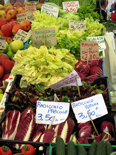Different varieties of radicchio at the Rialto market by Michael Horne