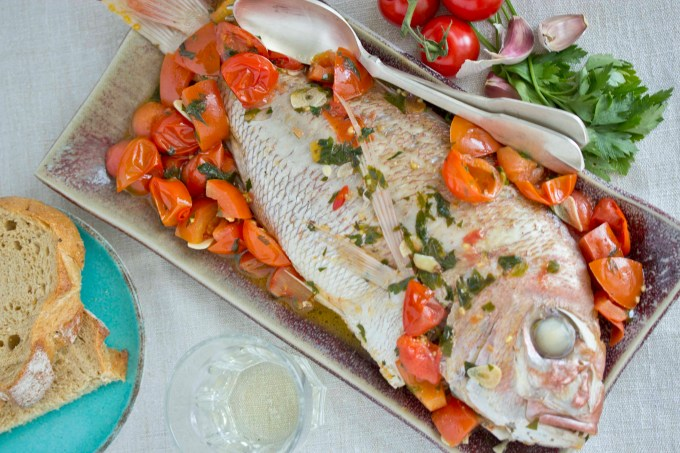 Acquapazza (fish stewed with tomatoes and garlic)