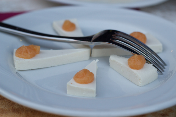 Ricotta mustia with apricot preserves