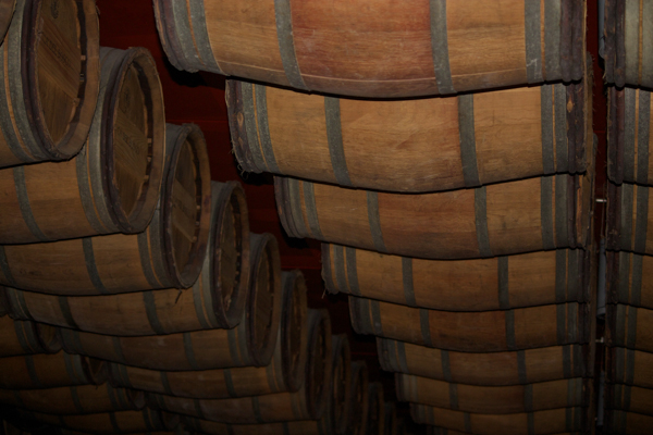 The ceiling of the barrel room