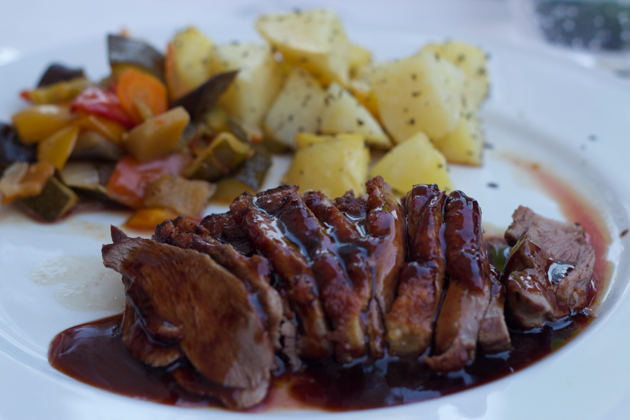 Duck with balsamic glaze