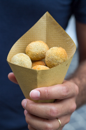 A street snack of olive ascolane (breaded and deep-fried local olives stuffed with meat) - a specialty of Ascoli Piceno