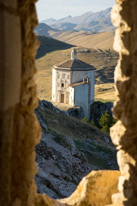 Santa Maria della Pietà church seen from the Rocca di Calascio