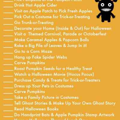 Halloween Activities For the Entire Month of October