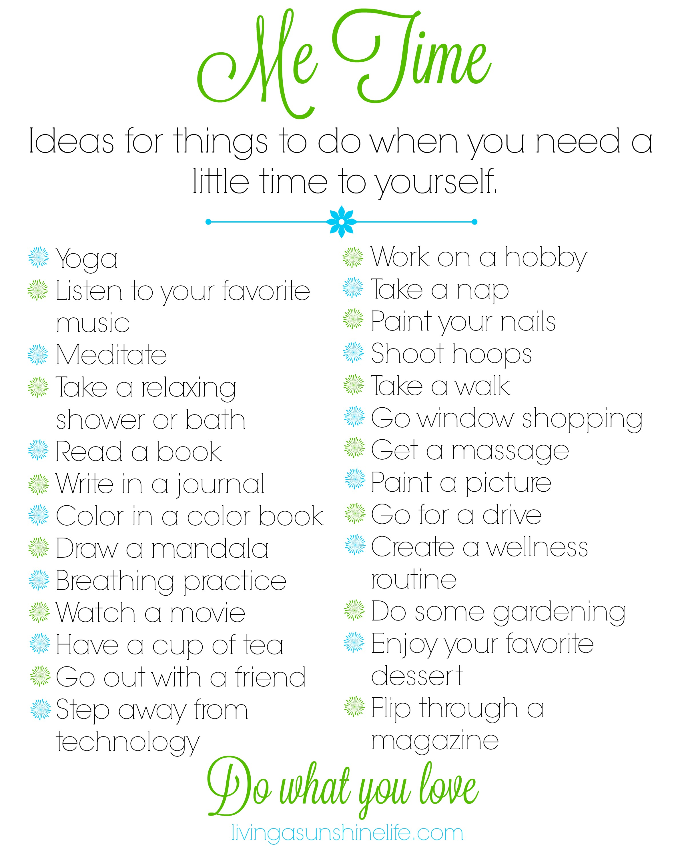 Me Time Printable Do What You Love
