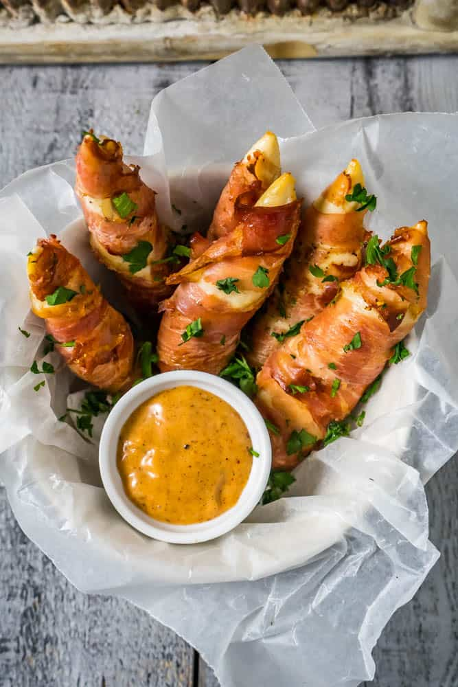 Prosciutto Wrapped Chicken Tenders with Sweet Chili Mayo