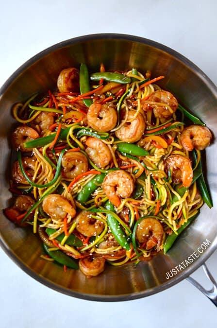 Asian-Zucchini-Noodle-Stir-Fry-With-Shrimp