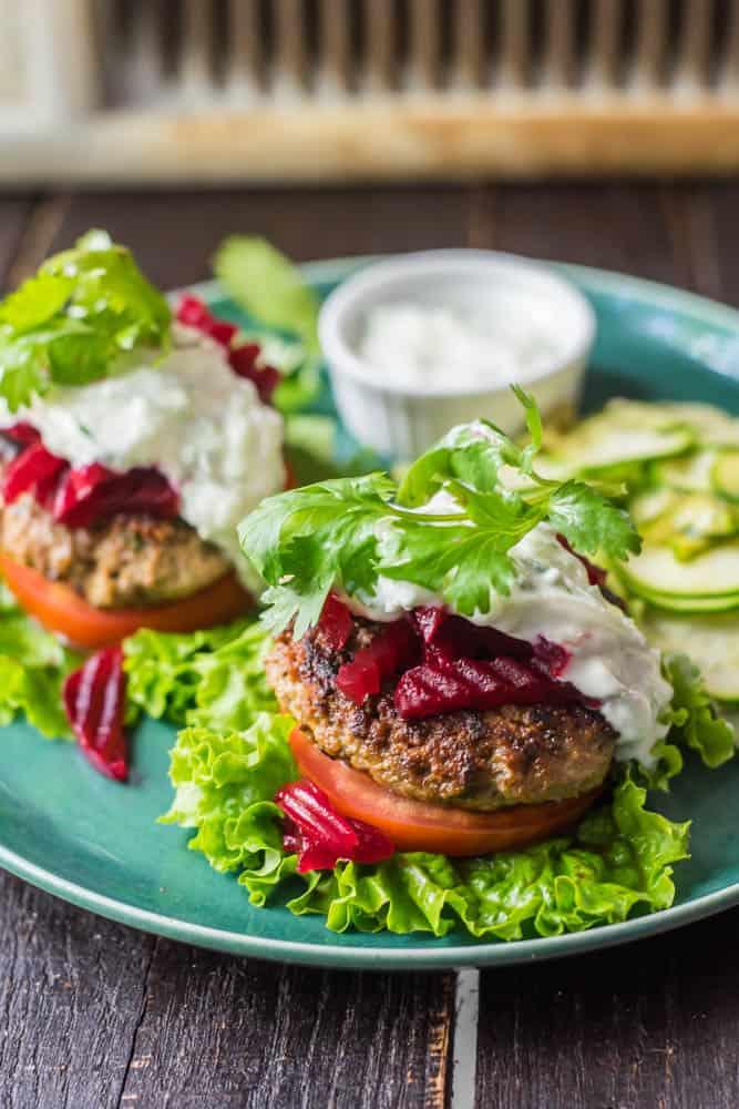 Bunless Moroccan Lamb Burger w/ Pickled Beets & Tzatziki