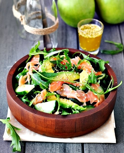 Smoked Salmon Avocado and Rocket Salad