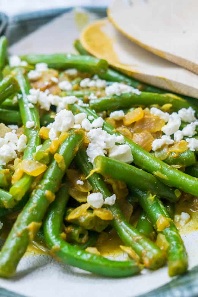 Curry Green Beans with Feta