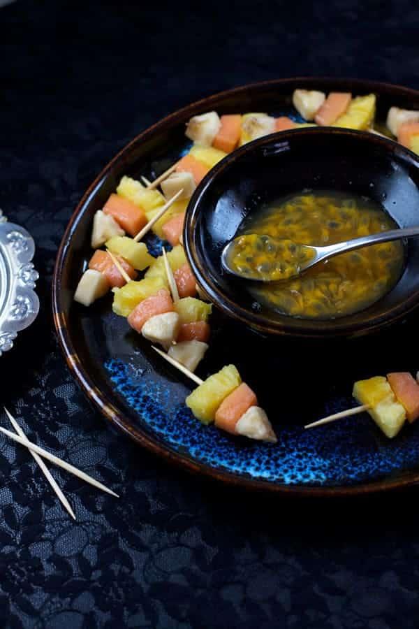 Candy Corn Fruit Kebabs