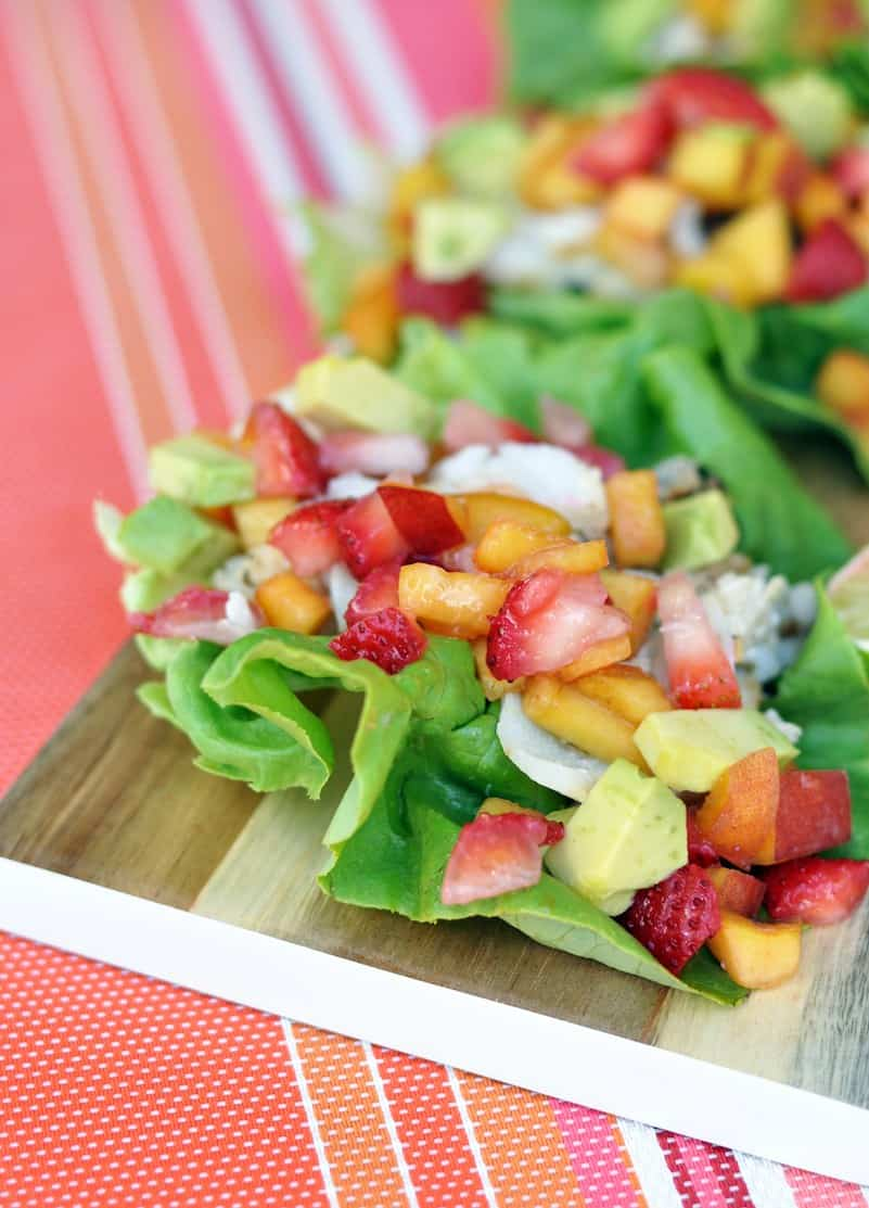 Fish Tacos with Peach and Strawberry Salsa